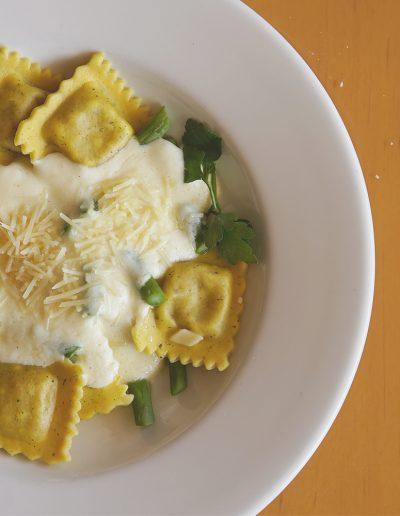 Plate of butternut squash ravioli